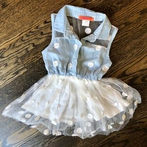 FUNKYBERRY Tulle Overlay Tunic Top w Polka Dots 3T
